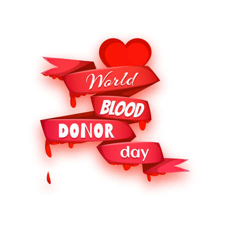 World blood donor day concept with red heart, drops and ribbon. Vector illustration.