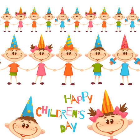 Seamless pattern with cute children. Happy Children Day title. Vector illustration. Illusztráció