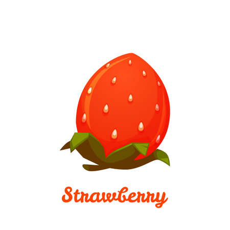 Sweet strawberry on transparent background. Vector flat illustration.