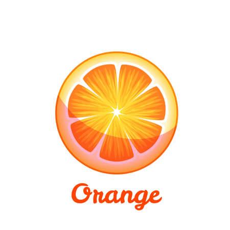 Sweet fruit orange on transparent background. Vector flat illustration. Ilustracja
