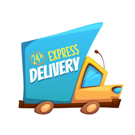 Vector illustration of express delivery truck with text.