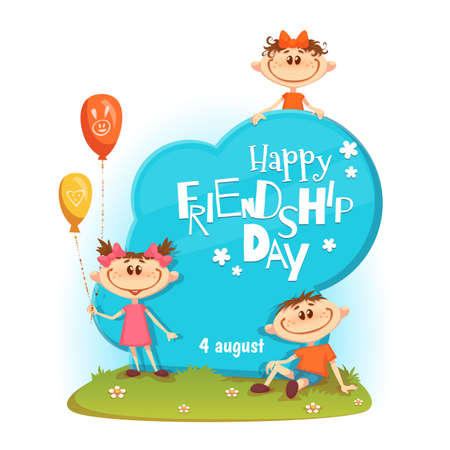 Stand with Friendship Day title, children, balloons, flowers and grass. Vector