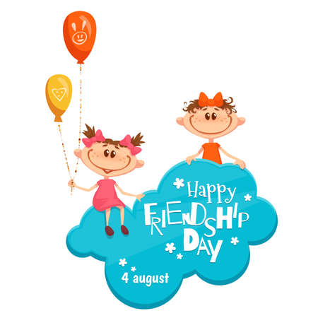 Banner with Friendship Day title, children, cloud, balloons and flowers. Vector illustration.