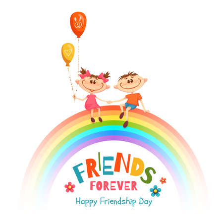 Poster with Friendship Day title and children on rainbow. Vector illustration. Illustration