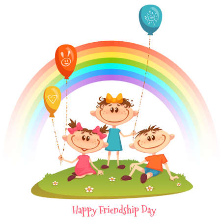 Poster with Friendship Day title and children, rainbow, flower and balloons. Vector illustration. Illustration