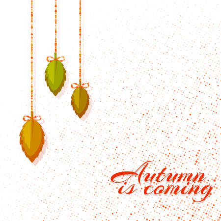 Autumn bright background with leafs. Vector illustration.