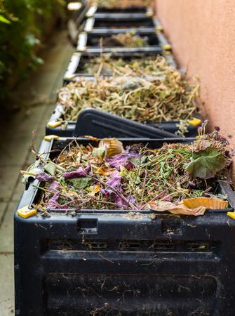 Oranic compost and waste in black bin.