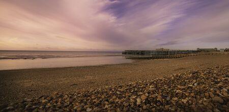 Pier in Hastings, evening, 2019, East Sussex, UK.