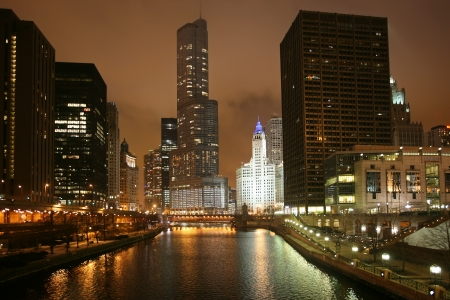 Night view of Chicago, USA