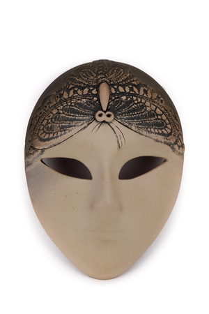 Mask, mysterious look, isolated on white photo