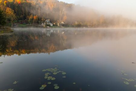 country house: Misty morning on the Rock Lake