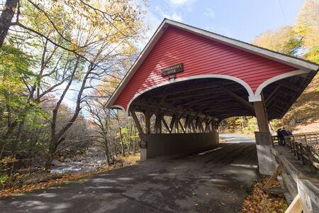 notch: Covered bridge in franconia notch state park new hampshire usa