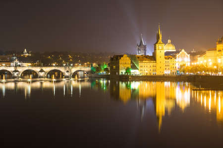 praha: Panorama at night with view on Castle and Charles Bridge in Prague (Praha), capital of Czech republic