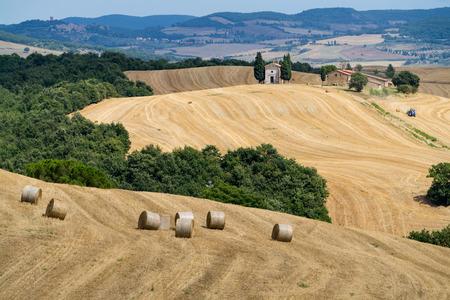 Rolling Hills y campos de cosecha en la luz dorada de la tarde con Cappella famosa Madonna di Vitaleta, Val d'Orcia, Toscana, Italia