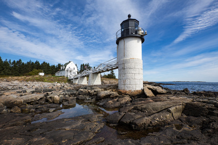 Marshall Point lighthouse in Port Clyde, Maine. This lighthouse is known as the beacon actor Tom Hanks ran to in his running journey in the movie Forrest Gump.