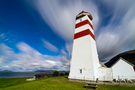 The lighthouse of Alnes, Godøy island, on the west coast of Norway.