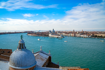 romantic places: Aerial view of Venice  as seen from Chiesa di San Giorgio Maggiore belltower