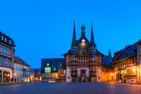 fachwerk: The gothic city hall of wernigerode by night,  blue hour