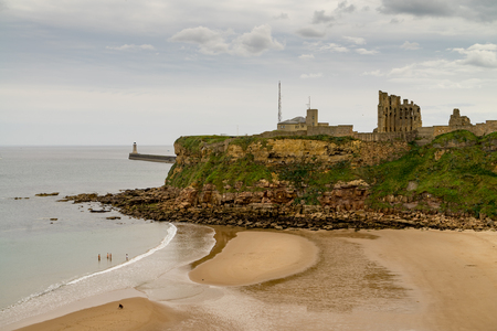 Tynemouth Priory and Castle, Northern England at clody summer day