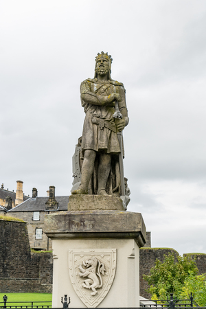 View of top part of the statue of King Robert the Bruce outside Stirling Castle in Scotland.