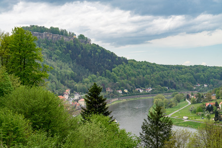 View to the Elbe river at the Konigstein hill, Saxony, Germany