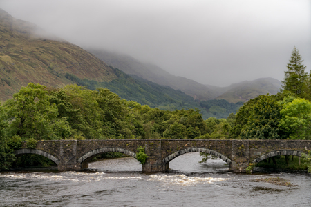 Bridge over the Gearr Abhainn river at the Old Military Road, Highlands Scotland
