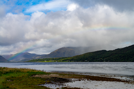 Rainbow over the Loch Linnhe in western highlands of Scotland