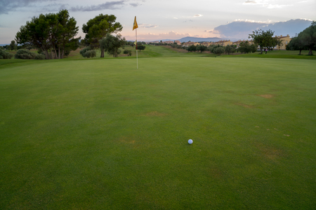 Golf ball on green fairway blue cloudy summer sky in the background 写真素材