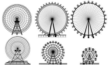 Realistic Ferris wheel set Vektoros illusztráció