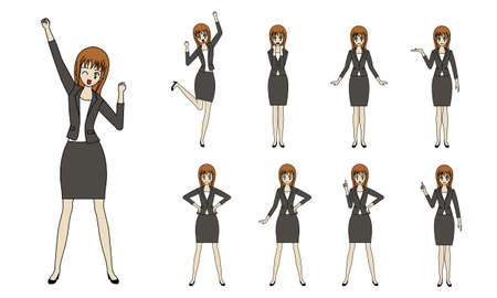 Vector illustration set of fashionable business women with various expressions