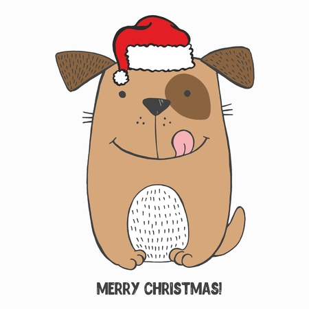 Vector illustration of crazy smiling sitting dog with brown spot on the left eye, red hat, tongue out. Sketch hand drawn picture. Funny toy puppy. Can be used as card, poster, merry Christmas 2018