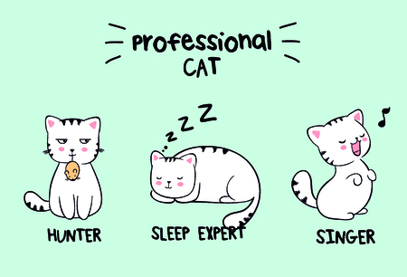 Set of three kawaii white cats in with lettering professional cat. Vector anime Japanese style illustration, ready-made fashion print for t shirt end-product with lettering sleep expert, sing, hunter