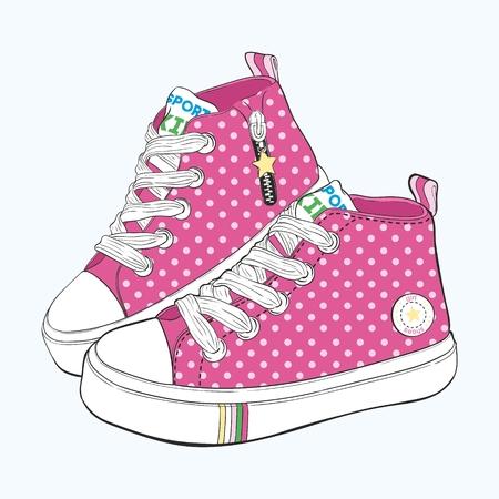 Set kinder sneakers. Ontwerpvarianten van schoenen voor meisjes. Stock Illustratie