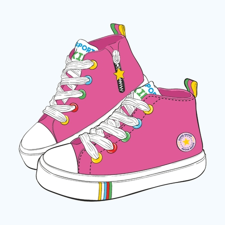 Childrens sneakers set. Design variations of shoes for girls.