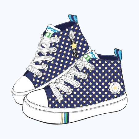 Children's sneakers set. Design variations of shoes for boys. Illustration