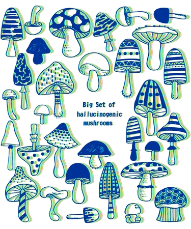 Big set of sketch hand drawn doodle hallucinogenic mushrooms. Vector 3D effect illustration. Polka dot striped caps and stalks. Fresh organic food or drugs isolated on white. Optical illusion Illustration