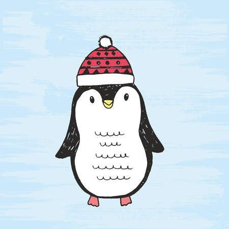 Vector illustration of cute hand drawn black and white penguin with a cap. Drawing isolated on a grunge blue background. Standard-Bild - 95526661