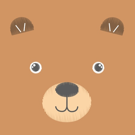 Vector illustration of embroidery of brown toy teddy bear. Baby anime smiling face isolated on an empty background. Sketch, hand drawn imitation. Can be used as card, poster, print for t-shirt.