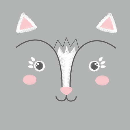 Vector illustration of cute embroidery of white and pink toy cat. Baby  anime smiling kitten face isolated on a grey background. Black and white. Can be used as card, poster, print for t-shirt