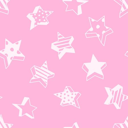 Seamless pattern with cartoon polka dot and striped cartoon distorted 3D stars on a bright pink background. Creative texture for fabric, paper, clothes, scrapbooking, cards, banner, web design