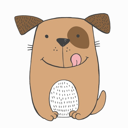Vector illustration of crazy smiling sitting dog wth brown spot on the left eye and tongue out. Sketch hand drawn picture. Funny toy puppy. Can be used as card, poster, print for fashion t-shirt Ilustração