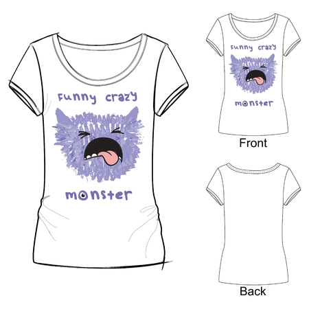 White t shirt with fashion print with Vector illustration funny crazy monster. Sketch illustration drawn with colored crayons