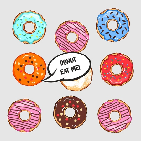 Vector illustration of set of colored donuts with comic cloud and lettering donut eat me. Conceptual, original idea for print for t shirt, clothes, card, poster, menu design for restaurant or cafe