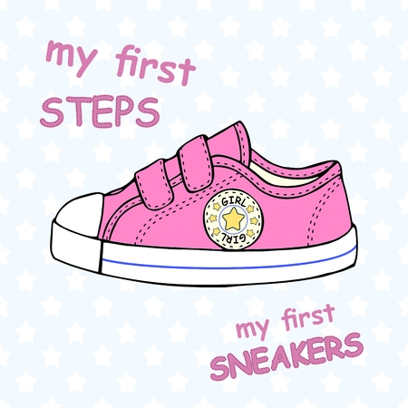 Illustration of children's cute sneakers without shoelace,classic design, with embroidery and inscription.