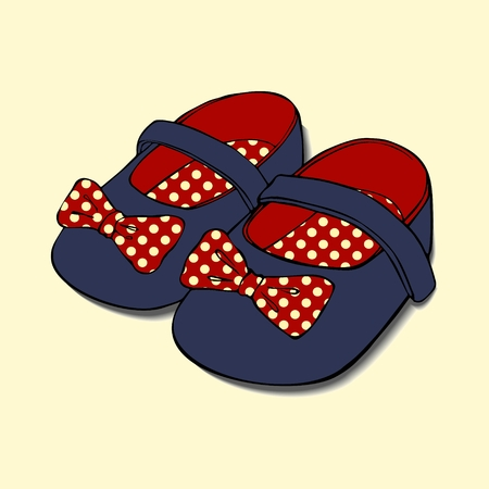 Designs of baby shoes with bow for girls. Иллюстрация