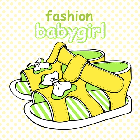 Colorful children's sandals with bows for baby boy or baby girl vector illustration. Иллюстрация