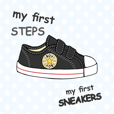 Illustration of childrens cute sneakers without shoelace (classic design) with embroidery and inscription.