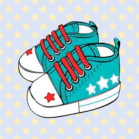 Children's sport shoes for baby boy or baby girl vector illustration.