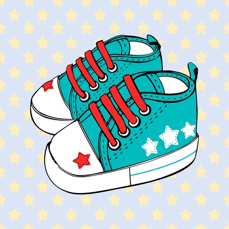 Children's sport shoes for baby boy or baby girl vector illustration.