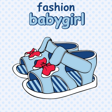 Vector Colorful Children's Sandals with Bows baby boy or baby girl